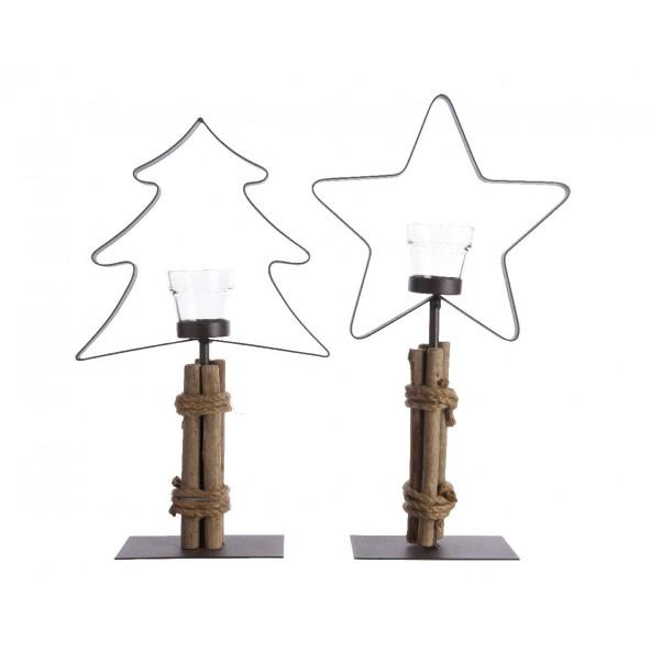 Świeczniki choinka i gwiazda