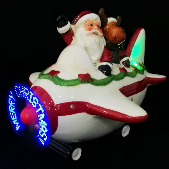Porcelanowy samolot świąteczny LED