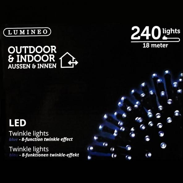 Sznur 240 LED niebieski 18m