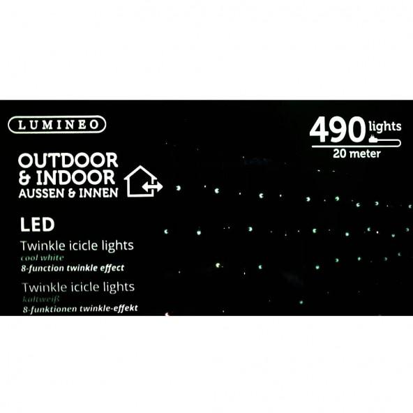 Kurtyna 490 LED zimny 20m