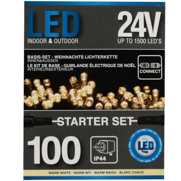 Sznur 100 LED ciepła biel 7,5m starter do łączenia