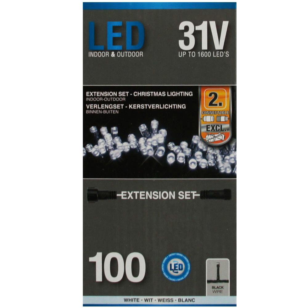 Sznur 100 LED zimna biel 7,5m rozszerzenie do startera