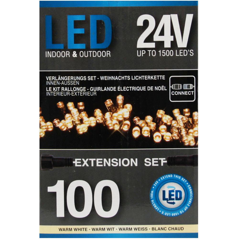 Sznur 100 LED ciepła biel 7,5m rozszerzenie do startera