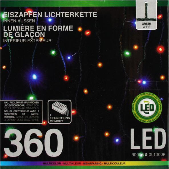 Sznur LED o długości 12 metrów. 120 ledów. Barwa światła - multikolor Programator - 8 programów