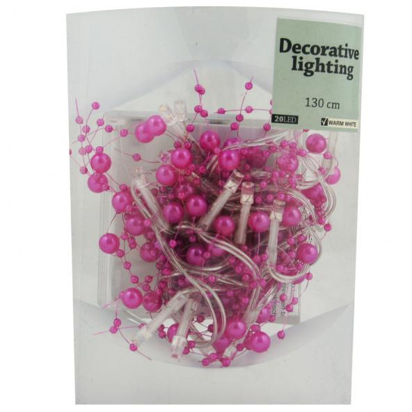 Perły 20 LED róż