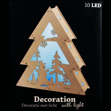 Domek drewniany sanki 10 LED