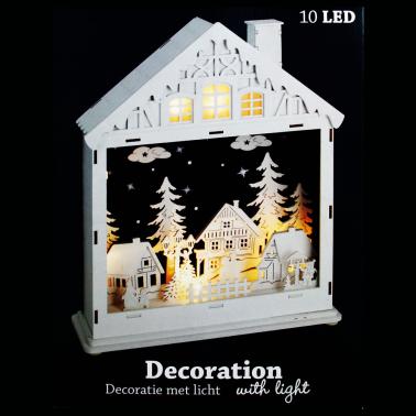 Domek drewniany podświetlany 10 LED