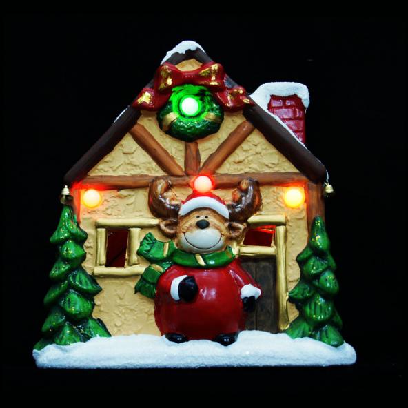 Domek z reniferem podświetlany LED