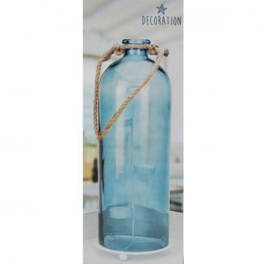 Świecznik butelka niebieska