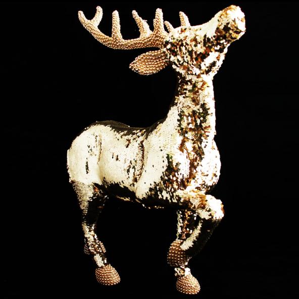 Renifer cekiny złoty 64cm
