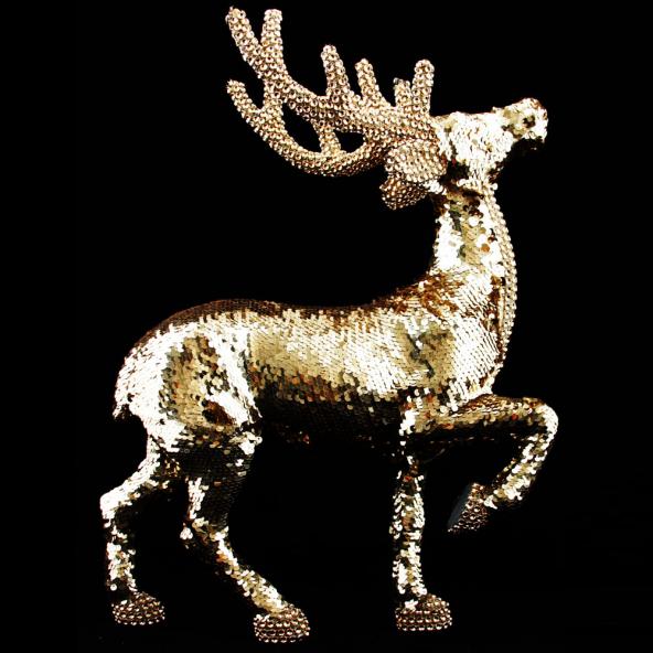 Renifer cekiny złoty 45cm